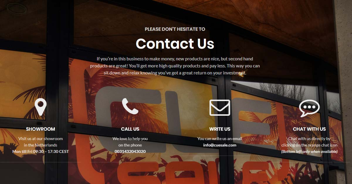 Contact Us ⋆ CUE Sale